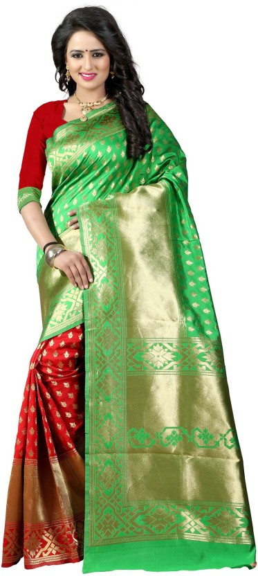 The Fashion Outlets Self Design, Plain Banarasi Cotton, Silk Saree