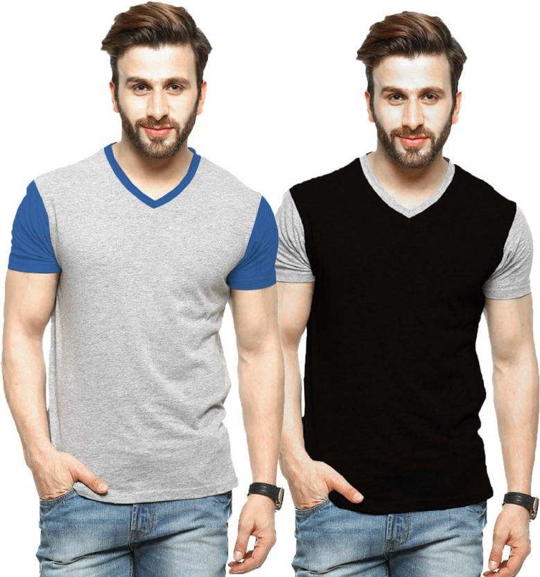 Tripr Solid Men V-neck Multicolor T-Shirt