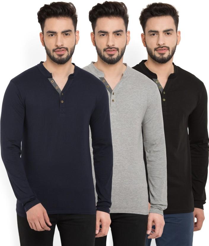 Billion PerfectFit Solid Men Henley Multicolor T-Shirt