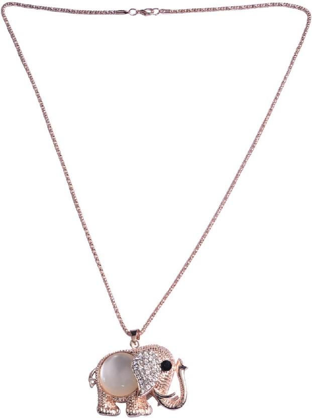 Fully Pendants For Women 18K Rose Gold Diamond, Cubic Zirconia Rose Gold, Alloy Pendant Set