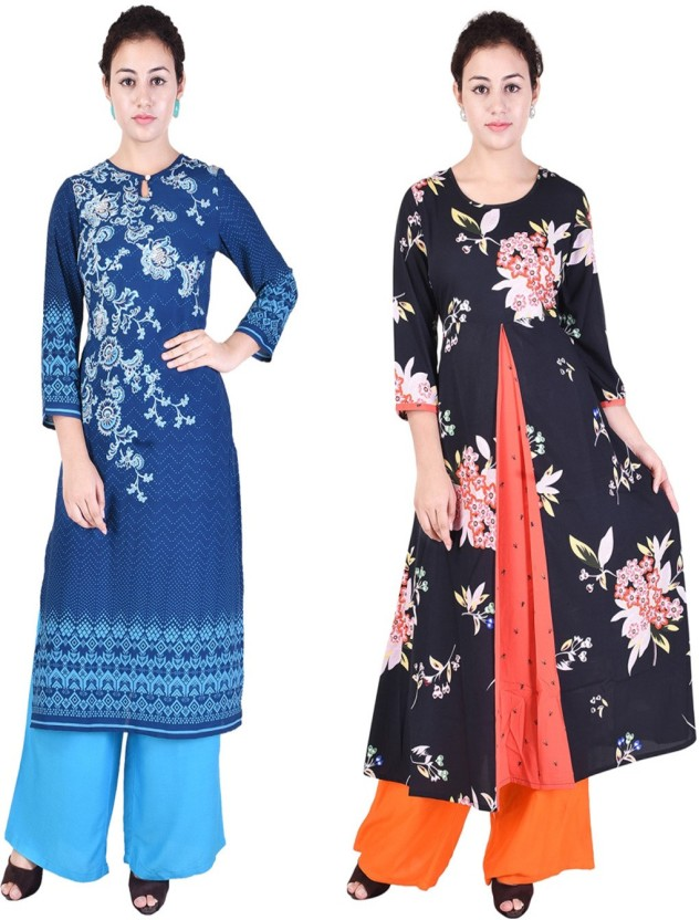 TEEJ Festive & Party Floral Print, Embellished Women Kurti