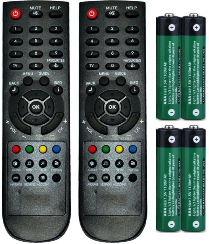 FineArts Combo of Den DTH Set Top Box Remote Controller (2 Pcs) with 4 Pcs Battery of 1.5 V Remote Controller