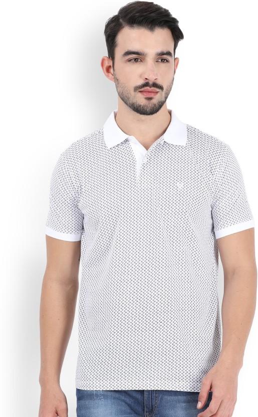Allen Solly Printed Men Polo Neck White T-Shirt