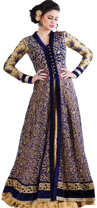 rutu fashion Net Embroidered Semi-stitched Lehenga Choli Material
