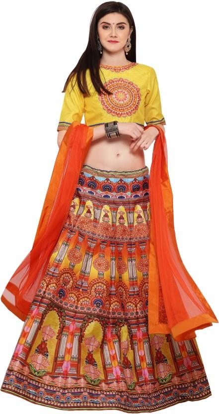 Zeel Clothing Silk Printed Semi-stitched Lehenga Choli Material, Lehenga Choli Material