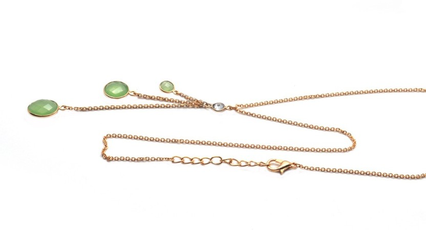 The Sparkle Story Beautiful Green Chalcedony Trendy Necklace Chalcedony Yellow Gold Plated Alloy Chain