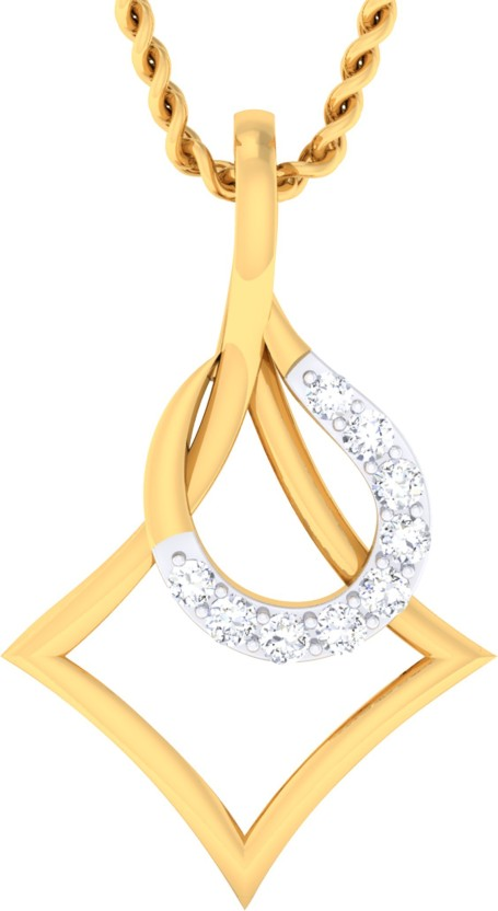 GO4CARAT 14K Yellow Gold, Rhodium Diamond Gold Pendant