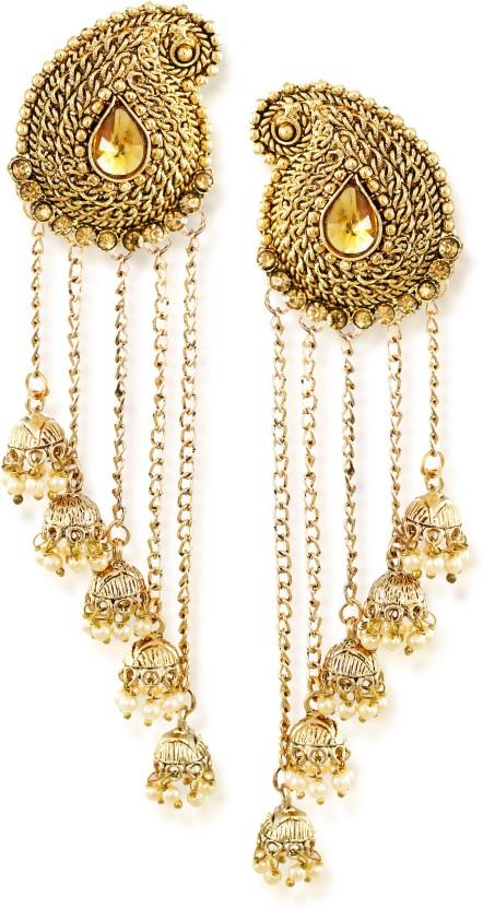 Zaveri Pearls Tassels With Dome-Shaped Jhumki Drops Earring Zinc Dangle Earring