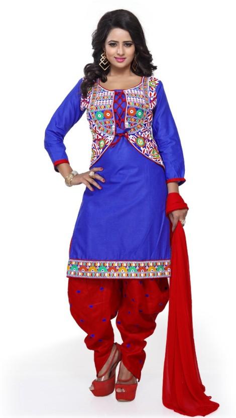 Fashion Ritmo Cotton Embroidered, Self Design Salwar Suit Dupatta Material