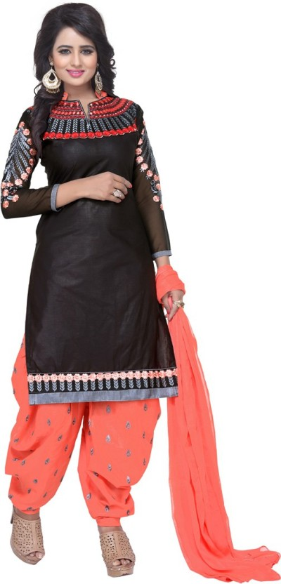 Fashion Ritmo Cotton Embroidered, Self Design Semi-stitched Salwar Suit Material