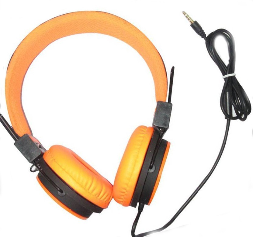 ColorKart 3.5mm CocoThe Retro Handset Moshi Moshi POP Phone Reciever For All Mobile & Tablet - Orange Wired Headset with Mic