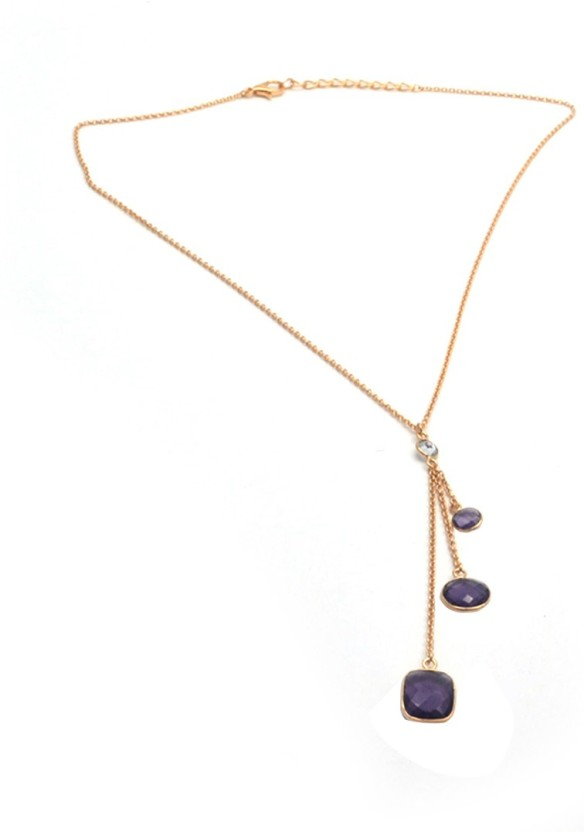 The Sparkle Story Trendy Purple Hydro Amethyst Yellow Gold Plated Alloy Chain