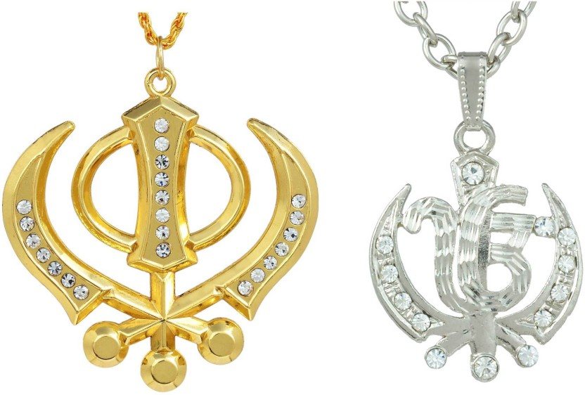 Memoir Combo deal of One Gold CZ Khanda, and One silver CZ Khanda chain pendant locket necklace for Men and Women Yellow Gold, Silver Cubic Zirconia Brass Locket