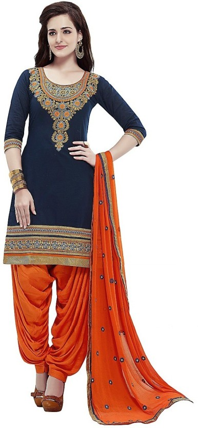 ejoty fashion Chanderi Cotton Embroidered Semi-stitched Salwar Suit Dupatta Material