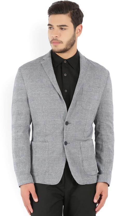 Peter England Checkered Tuxedo Style Casual Men