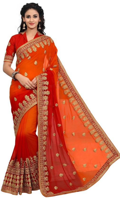 onlinefayda Embroidered Fashion Georgette Saree