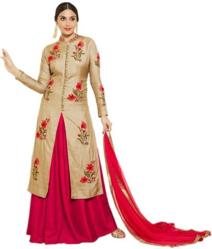 Sukhvilas Fashion Cotton Embroidered Semi-stitched Salwar Suit Dupatta Material