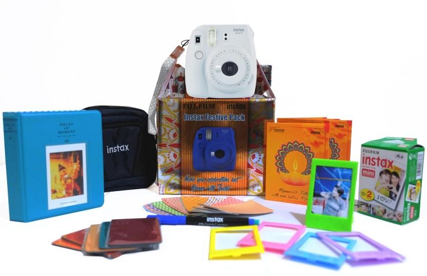 Fujifilm Instax Mini 9 Smokey White Festive Pack Instant Camera