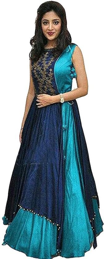 Indcrown Silk Self Design Semi-stitched Gown