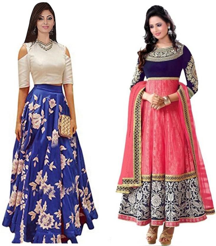 Indcrown Net Graphic Print Lehenga Choli Material, Semi-stitched Salwar Suit Material