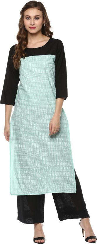 Krapal Checkered Women Straight Kurta