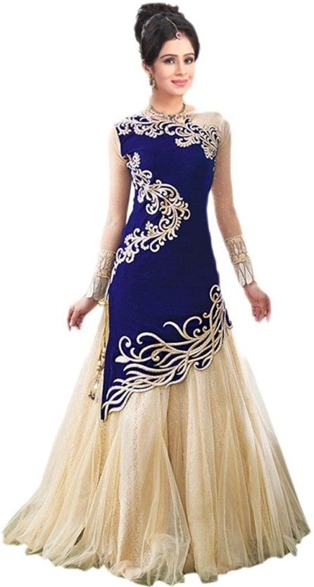 Indcrown Georgette Embroidered Semi-stitched Gown