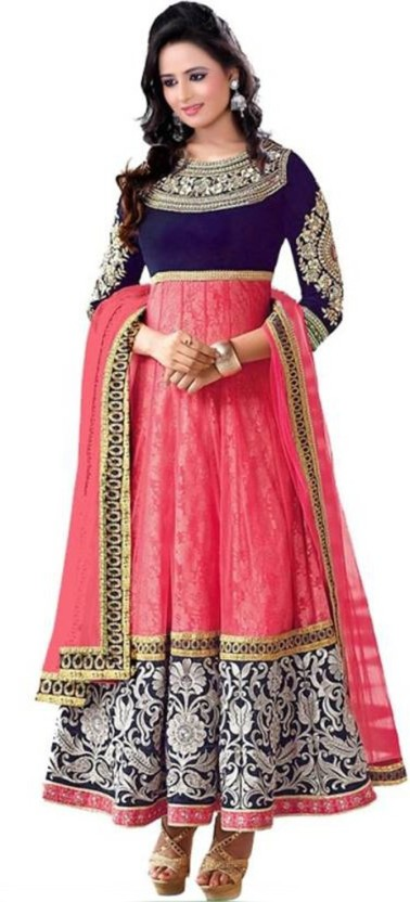 Indcrown Net Embroidered Semi-stitched Salwar Suit Dupatta Material