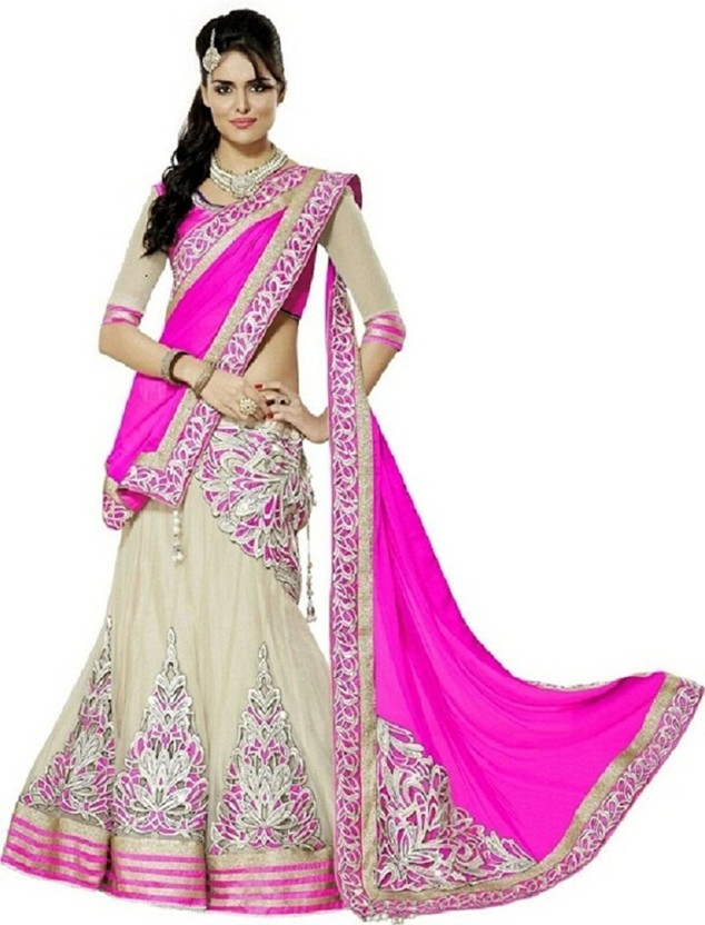 Indcrown Net Embroidered Semi-stitched Lehenga Choli Material