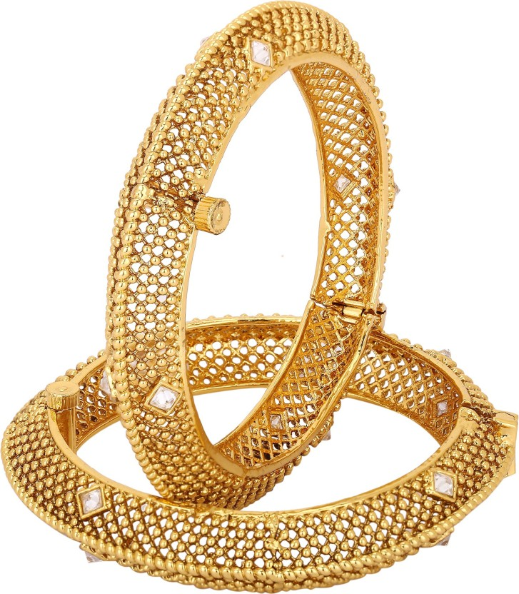 Adwitiya Fashion Copper Cubic Zirconia 24K Yellow Gold Bangle Set