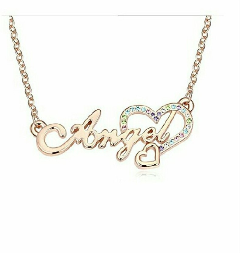 fashion9mart Fashion 9 18k Rose gold Plated Antique Golden Angel Pendent For Girls 18K Rose Gold Crystal Alloy Pendant