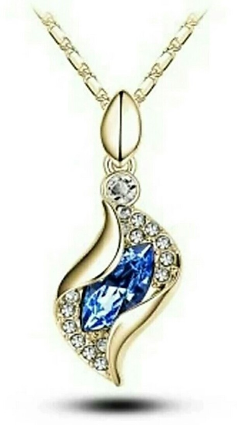 fashion9mart Fashion 9 18k yellow gold plated antique gold blue Pendant for girls 18K Rose Gold Crystal Alloy Pendant