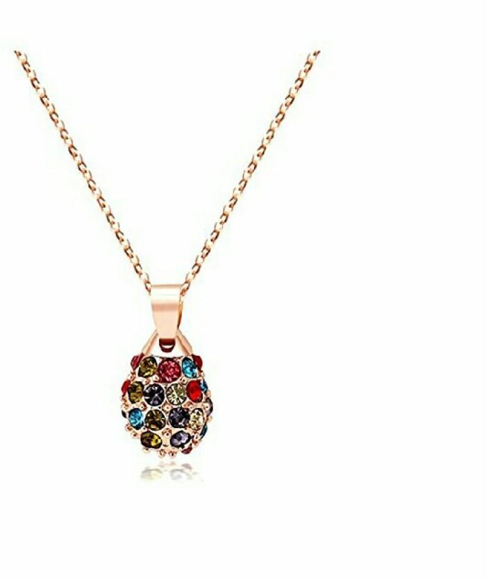 fashion9mart Fashion 9 18 k Rose gold Plated Antique Blue Sandel shape Pendant For Women… Rose Gold Crystal Alloy Pendant