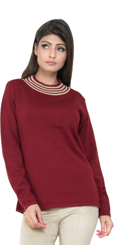 Perroni Solid Round Neck Casual Women Maroon Sweater