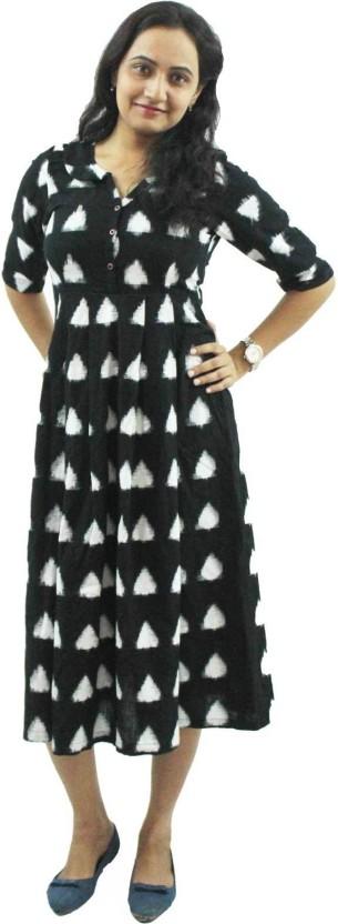 Nthroot Women A-line Black, White Dress