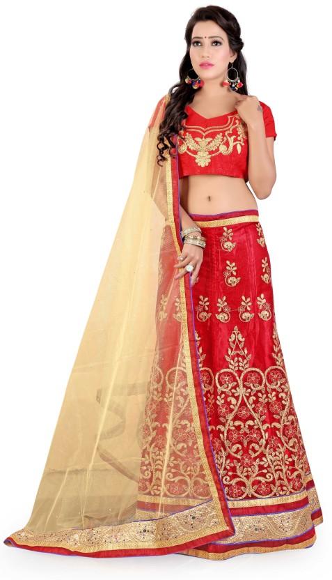 Madhav Fashion Net Embroidered Semi-stitched Lehenga Choli Material