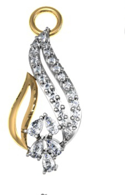 GO4CARAT Rhodium, 14K Yellow Gold Diamond Yellow Gold Pendant