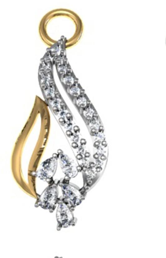 GO4CARAT Rhodium, 14K White Gold Diamond, Cubic Zirconia Silver Pendant