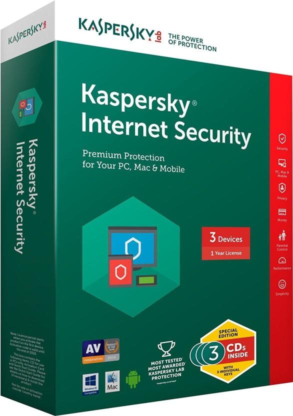 KASPERSKY Internet Security 2017 3Pc 1 Year(3cd+3key)Every Key 365days valid ( Windows OS Only)