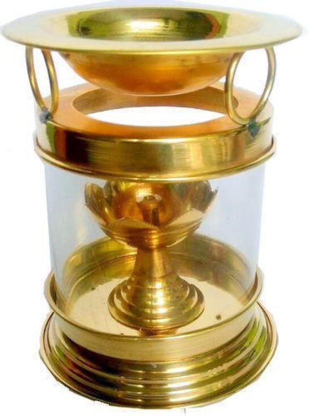 Collectible India Oil Burner (Diffuser) Puja Deepak Oil Lamp with Free Accessories Brass 1 - Cup Candle Holder