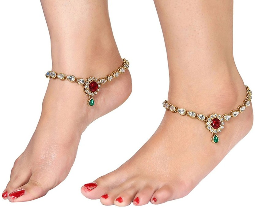 I Jewels Traditional Gold Plated Kundan Alloy Anklet