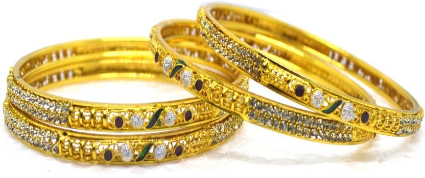 Jewellery Hub Alloy Diamond 18K Yellow Gold Bangle
