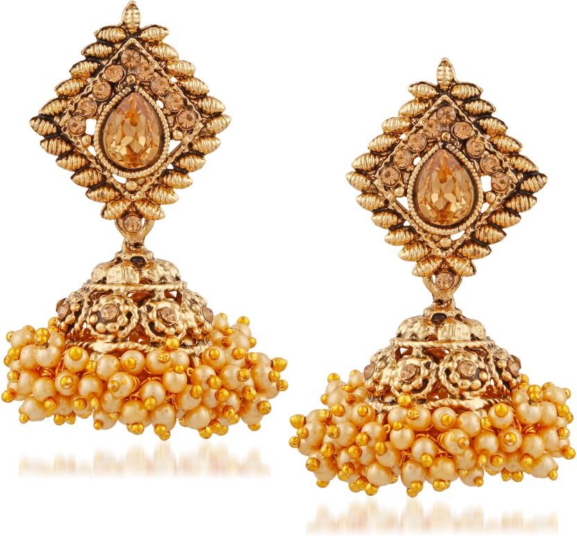 Meenaz Fashion Jewellery Traditional Gold plated Chandbali Pearl ...