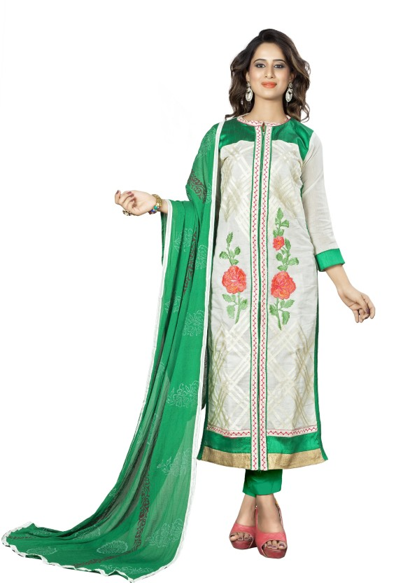 PR Fashion Chanderi Cotton Embroidered Semi-stitched Salwar Suit Material