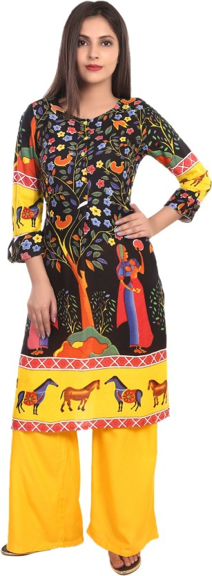 TEEJ Applique, Animal Print, Floral Print Women Straight Kurta