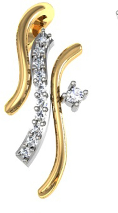 GO4CARAT 14K Yellow Gold, Rhodium Diamond Gold Pendant
