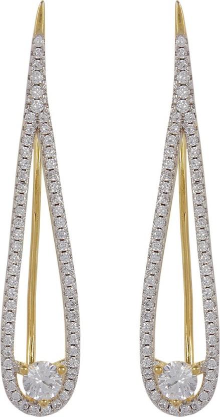 Muchmore Beautiful Gold Plated American Diamond Fancy Party Wear Ear Cuffs Earrings Alloy Cuff Earring