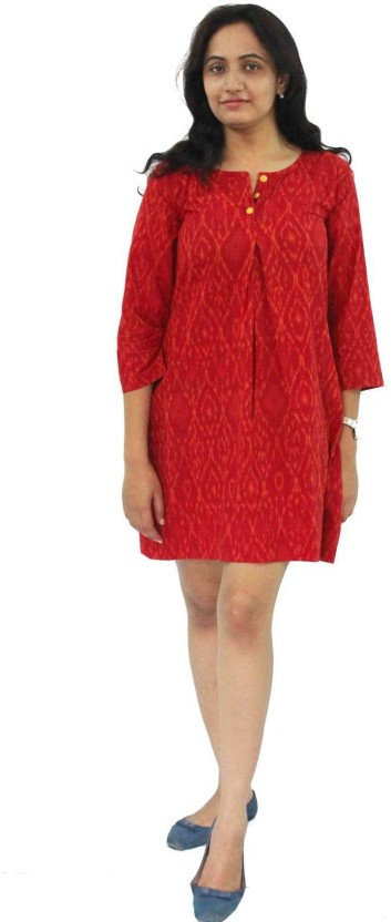 Nthroot Women Shift Orange Dress
