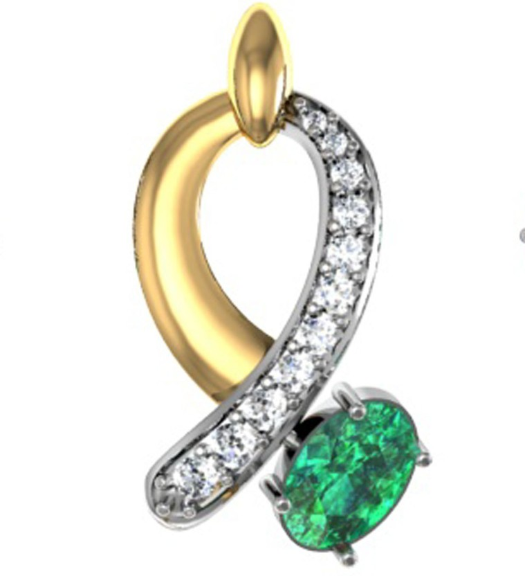 GO4CARAT 14K Yellow Gold, Rhodium Diamond, Cubic Zirconia Sterling Silver Pendant