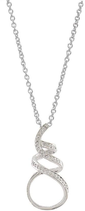 The Jewel Box The Jewelbox 92.5 Sterling Silver CZ/American Diamond Omega Italian Pendant Rhodium Cubic Zirconia Stainless Steel Pendant