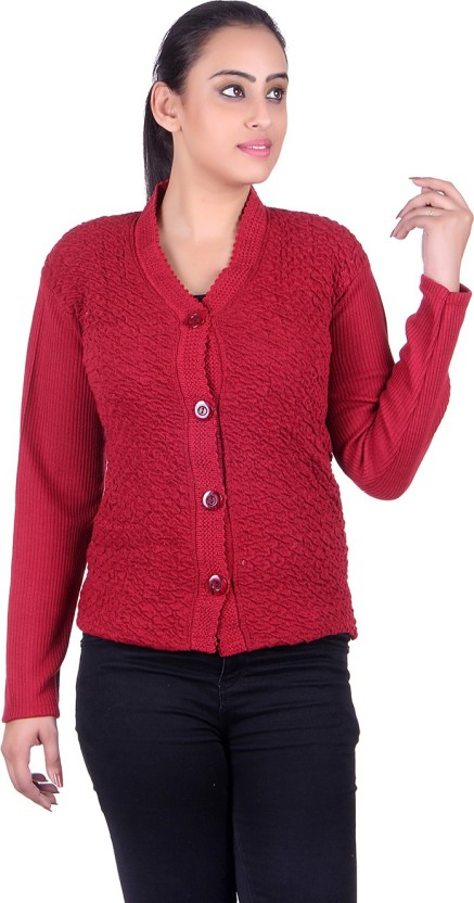 eWools Solid V-neck Casual Women Maroon Sweater